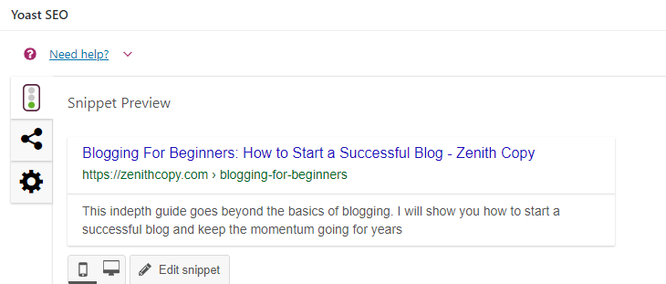 a Yoast Screenshot of Blogging for Beginners