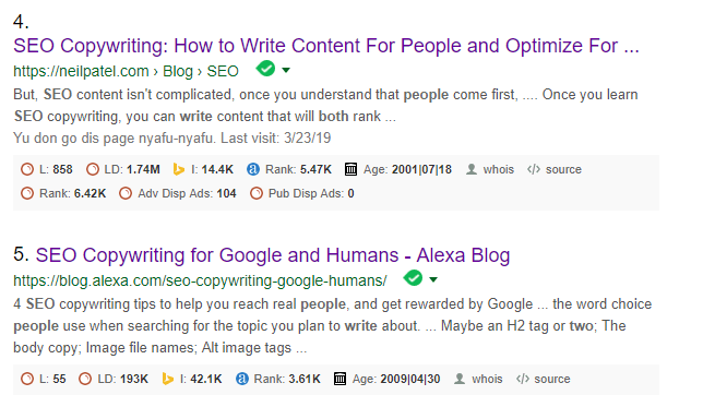 Google Search Result on how to write for humans and Google