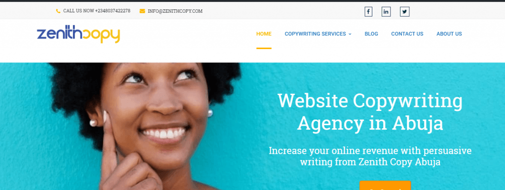 A screenshot of Zenith Copywriting Homepage with contact information at the top of the page