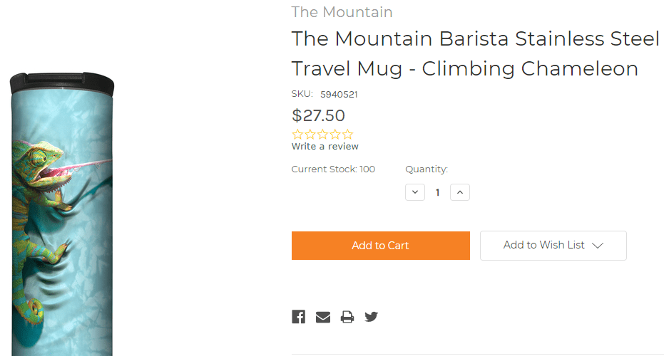 The Mountain travel mug uses white space properly