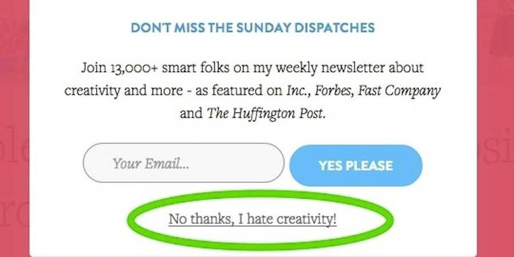 one of the biggest landing page copywriting mistakes is trying to guilt your audience into taking your CTA