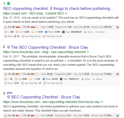 google search result for SEO copywriting checklist