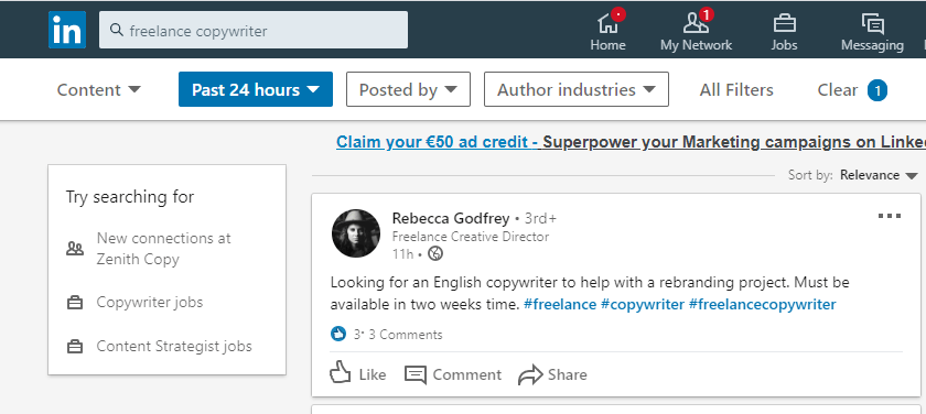 linkedin search function is a goldmine