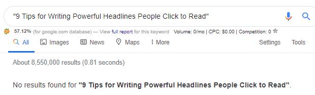 When writing headlines, make sure it's unique